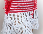 Red and White Hand crochet summer beach mini skirt or top-Pool and Beach Wear-red and white striped-strawberry patterned skirt