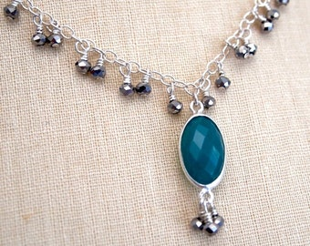 Emerald green onyx and sterling silver necklace by Cerise Jewelry