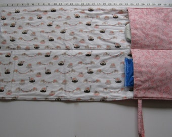flip and go travel diaper changing pad/baby changing pad/travel diaper clutch with pockets-coral floral with elephants