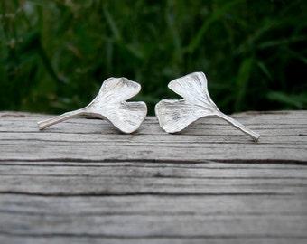 Ginkgo Studs - Sterling Silver Leaf Earrings - Post Style - Cast Metalwork