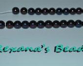 Czech Glass Druk Purple Luster 8mm Round- Set of 36 Beads