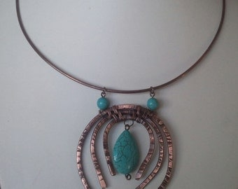 Rustic.Chunky Antique Copper Bib Necklace with Turquoise Magnasite