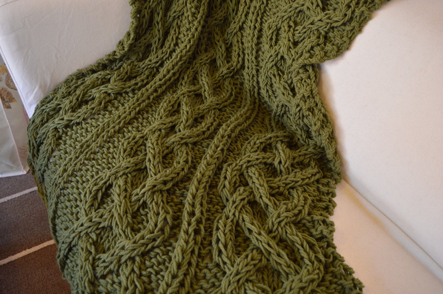 Chunky hand knitted cable blanket / throw Leaf Green