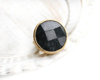 Adjustable Round Black Jade Stone Gold Plated Ring