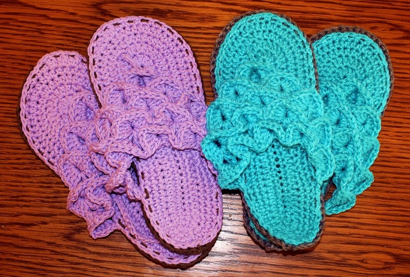 Items similar to Crochet Flip Flop Slippers, Crocodile ...
