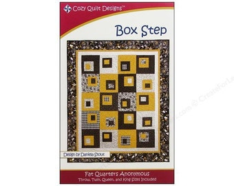 Box Step Quilt Pattern Fat Quarter Friendly Cozy Quilt Designs DIY Quilting, 4 Sizes to Make