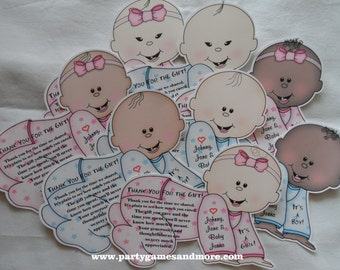 Unique Personalized Baby Shower Thank You Cards, Baby shaped Pink or Blue
