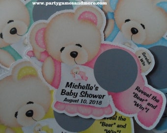 Unique Personalized Baby Shower Bear Shaped Scratch Off Lotto Game Card, Pink, Blue, Green or Yellow.