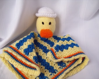 Crochet Duck Security Blanket, Sailor Duck Lovey, Crochet Snuggle Buddy Blanket Toy, Stuffed Duck Toy
