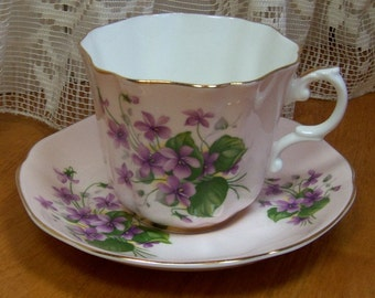 Vintage Royal Grafton, Numbered cup and saucer, Made in England - Violets