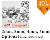 Bling Transparent Crystal Flatback Rhinestone  (2MM/3MM/4MM/5MM Optional) 3000pcs/bag