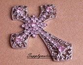 1PCS Bling Pink Crystal Cross Flatback Alloy jewelry For Phone case deco