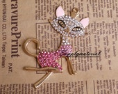 1PCS Pink Crystal Fox Flatback Alloy accessories Jewelry material supplies