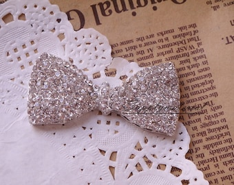 1PCS 63X31mm Bling Crystal Bow Bowknot Flatback Alloy jewelry Accessories for diy phone case deco