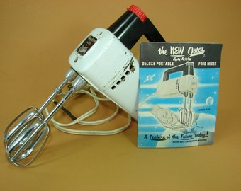 Oster Food Mixer, Knee Action Deluxe Portable Electric Beaters, Working Vintage Hand Beaters, Instruction & Recipe Booklet