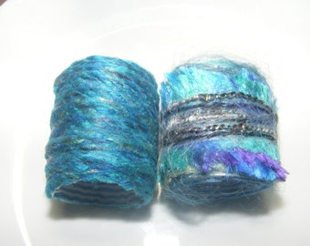 Scarf Slide Set of 2 Fiber Ring Scarf tie Pareo ring Jumbo dread bead Blue compliments Green