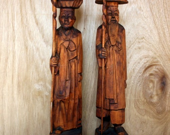 Vintage Asian Chinese Handcarved Wood Man and Women Tall Figurine, Oriental Man and Women, Tribal Home Decor - Photo Prop - Garden Display