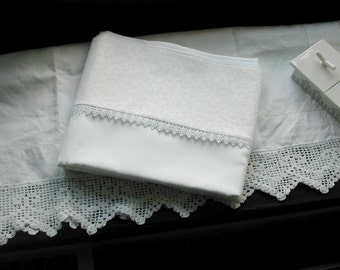 Mulberry Silk Pillowcase King Size White With Cream Guipure