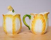 Yelllow and White Tulip Shaped Cream Pitcher and bowl Set - Flower Nature Cream Kitchen Decor Display