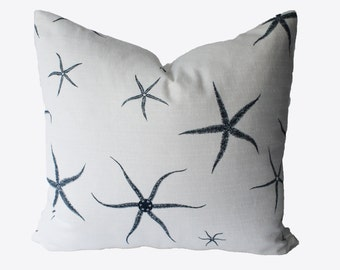 Decorative Designer Nautical Starfish, Navy Blue, 18x18, 20x20, 22x22 or Lumbar Throw Pillow