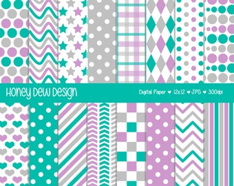 Instant Download - Digital Paper Pack 336 Purple, Teal and Grey Patterned Paper