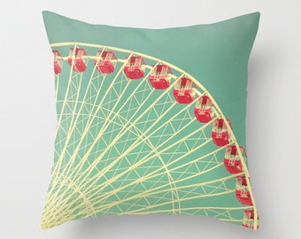 Ferris Wheel Photography Pillow or Decorative Pillow Cover Vintage Hipster Mint Green Aqua Red Ivory Beige Living Room Bedroom Nursery Decor