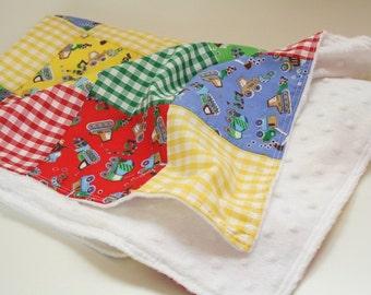 Personalized Patchwork Baby Boy Blanket, Construction Theme Nursery Decor, Car Seat Blanket, Pram Blanket, Baby Boy Gift, Snuggle Blanket