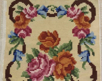 Retro CROSS-STITCH EMBROIDERY Needlework Floral canvas petitpoint tapestry chair cover