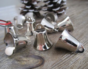 Silver bells - 16 pcs. 20mm silver coloured bells for home decor, accessories, silver wedding bells, Christmas decorations - 16 pcs.