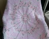 Crochet pink, white and gray baby girl blanket