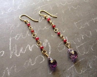 Ruby Gold Filled Earrings