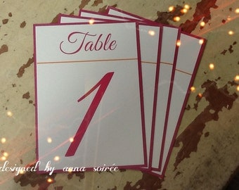 Double Layer Table Numbers  -SET OF 10 for wedding, bat/bar mitzvah, sweet 16, any occasion