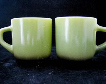 Fire King Anchor Hocking Avocado Green Black Stacking Mugs Vintage 1960s Pair