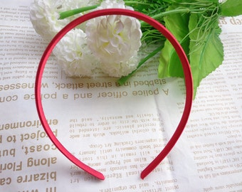 SALE--20 pcs Plastic Headband With Red  Cloth Covered 10mm Wide