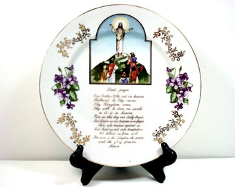 Vintage Hanging Plate Norleans Japan The Lords Prayer Collectable Plate