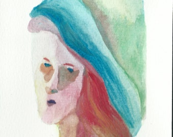 Original Watercolor Portirat Painting/ illustration- Lady from the Past
