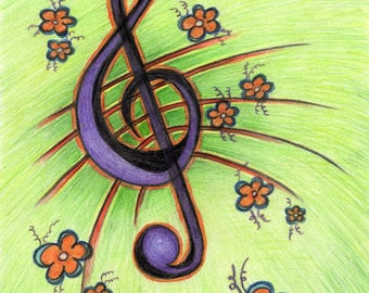 Post card with music key drawing, music notes card, greeting card, birthday card, music landscape, musician collectors item