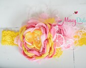 Couture headband- PINK LEMONADE headband or clip  Newborn- Adult