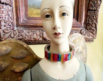 Expandable Bracelet in Bright Festive Colors * Multi- Colored Bracelet * Faux Colored Mother of Pearl Bracelet