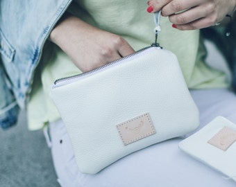 white natural leather pouch, make up bag, mini clutch bag
