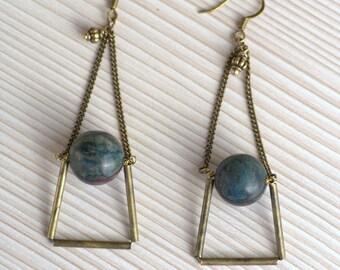 Jade Long Earrings. Geometric dangle earrings. Mineral jewelry