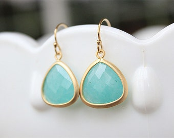 Aqua Blue Drop Earrings in Gold - Bridesmaid Earrings - Blue Stone Earrings - Faceted Aqua Blue Wedding Jewelry, Bridesmaid Jewelry