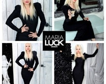 Black Elegant floor-length dress with long puffy sleeves evening formal body contour dress by Maria Luck