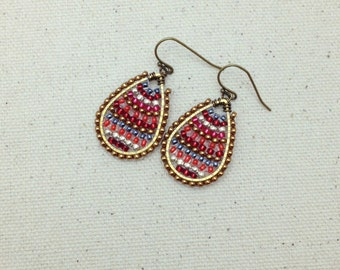 Red, White and Gold Colorful Woven Earrings Wire Wrapped