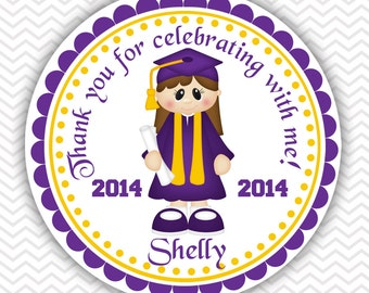 Graduation Girl - Personalized Stickers, Party Favor Tags, Thank You Tags, Gift Tags