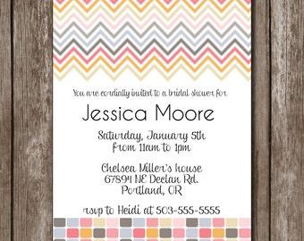 Colorful Chevron Invitation/Digital file/Bridal*Baby*Birthday