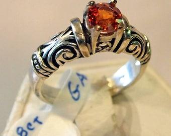 Spessertite Garnet Ring, 1.18 carat, Sterling Silver Ring, Size 7 1/2