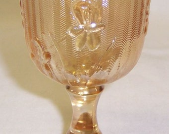 Jeannette Iridescent Vintage Iris and Herringbone Depression Glass 3 3/4 Inch Wine Goblet