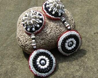 Beadwork Dangling Earrings, Black, White, Rhinestones, Shoulder Dusters