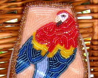 Beadwork Scarlet Macaw Brooch, Pink, Red,